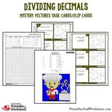 dividing decimals mystery picture task cards with coloring