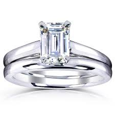 overstock bridal sets annello by kobelli white gold 1ct solitaire emerald cut