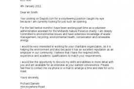 cover letter for volunteer position example cover letter