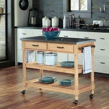 Kitchen Table With Stainless Steel Top - home styles savannah maple kitchen cart with stainless steel top