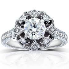 round cut diamond vintage style engagement ring 1 1 5 carat ctw