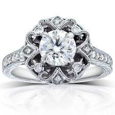 round cut diamond vintage style engagement ring 1 1 5 carat ctw