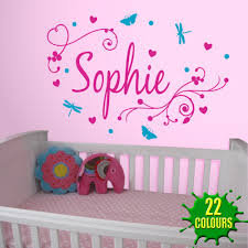 butterfly child name vinyl wall stickers customer name with two girl 039 s swirly personalised name wall stickers decals girl name wall stickers