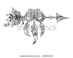 ethnic arrow flower feathers style stock vector 629392193
