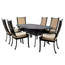 7 Piece Aluminum Patio Dining Set - bocage 7 piece cast aluminum sling patio dining set w 84 inch
