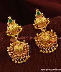kerala earrings er368 south indian gold plated guarantee daily wear green