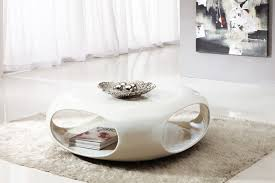 round white coffee table modern with shelves and storage also