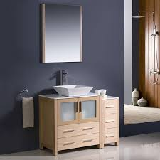 shop fresca bari light oak single vessel sink bathroom vanity with