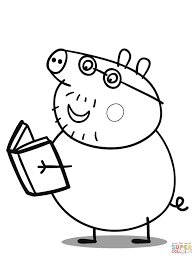 daddy pig reads a book coloring page free printable coloring pages