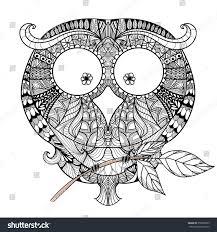 decorative owl zendoodle design element template stock vector