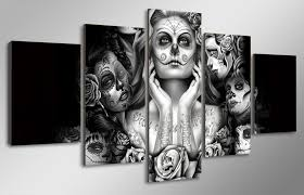 Day Of The Dead White Hd Printed Day Of The Dead Face Painting On Canvas Room Decoration