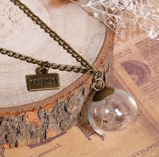 glass ball necklace images Glass ball wish dandelion seed necklace pendant the gearbuyz store png