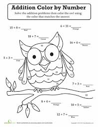 coloring pages math worksheets owl color by number worksheets english and math