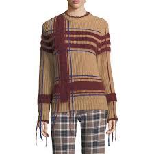 plaid sweater burch fuzzy yarn trim plaid sweater evachic