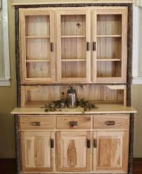 Hutch 3 3 Door Hickory Hutch With Glass Doors Carriage House Furnishings