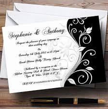 personalized wedding invitations white black scroll personalized wedding invitations heart print