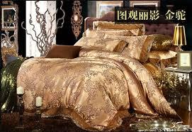 Jacquard Bed Set Luxury Gold Camel Lace Satin Jacquard Bedding Comforter Set For