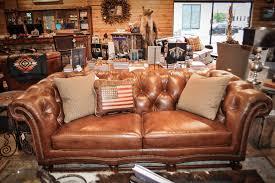Rustic Furniture Store Rustic Brown Leather Teton Sofa At Anteks Furniture Store In Dallas