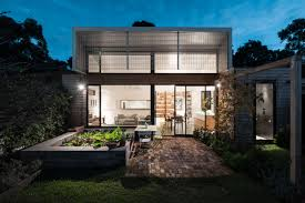 architecture the fresh elegant face of shed roof so called moden house design with skillion rooftop extra lights glass wall mini garden mini pond combination of white and brown painting