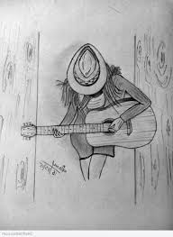 simple pencil sketches with geetar easy with guitar
