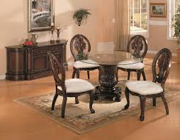 Round Dining Room Set Coaster Tabitha Traditional Round Dining Table With Glass Top
