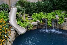 Simple Slide For Natural Swimming Pool For Small Backyard