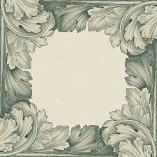 vintage border frame engraving with retro ornament pattern in