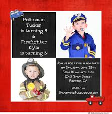 five alarm photo firefighter birthday card red party