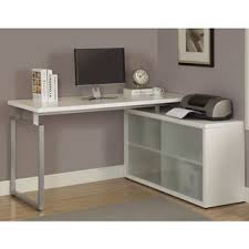 white l shaped desk with frosted glass free shipping today