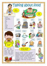 talking about food free esl worksheets tesol tefl teaching