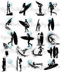 20 surfer silhouettes clip art surfer png by digitalneeds
