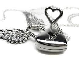 key necklace set images Engraved padlock necklace angel wing necklace heart necklace jpg