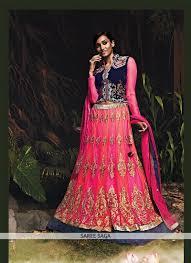 rani pink colour pink colour net velvet zardosi hand work lehenga choli