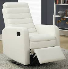 bonded leather swivel glider recliner with horizontal tufted back