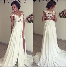 wedding dress for evening 2018 summer chiffon wedding dresses lace top sleeves side
