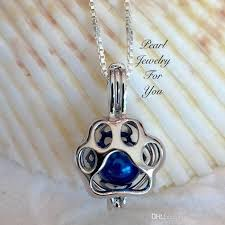 pearl wish necklace images Paw print dog cat sterling silver pearl cage pendant necklace wish jpg