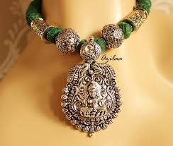 antique necklace silver images Goddess laxmi antique silver plated necklace earrings set at jpg