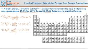 chemistry practice problems determining formula from percent