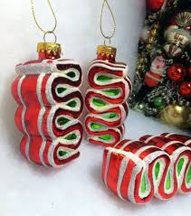 peppermint ribbon tree ornaments glass white