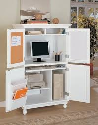 Computer Hutch With Doors White Finish Louvered Design Computer Armoire Desk Workstation