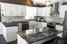 white cabinets with black countertops and backsplash kitchen countertop ideas with white cabinets designing idea