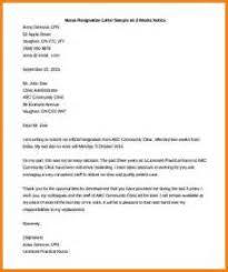 sample resignation letter nurse example good resume