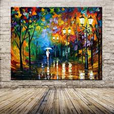 hand painted landscape oil painting palette knife thick paint bright in colour modern home canvas