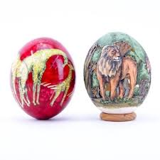 painted ostrich eggs of two 2 painted ostrich eggs one is signed
