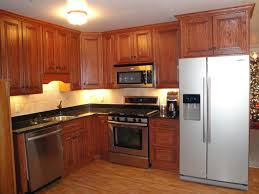 Kitchen Cabinet Refrigerator Stylish Modern Kitchen Design With Oak Modular Cabinet Added