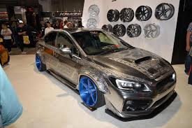 subaru chrome engraved subaru wrx sti on display at 2016 sema
