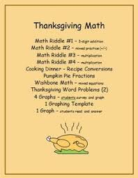 thanksgiving math riddles fractions word problems graphing and