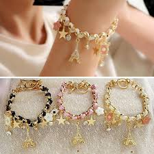 woman charm bracelet images Woman beaded bracelets eiffel tower paris leather pentacle shine jpg