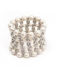 pearl bracelet swarovski images Pearl and swarovski crystal wide bracelet marilyn 39 s jpg