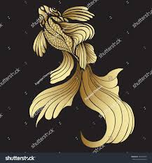 gold fish graphic decorative abstract fish stock vector 391600945